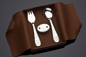 Bunny Silver Dummy Clip And Cutlery Baby Gift Set