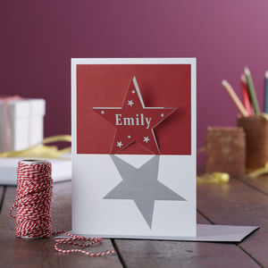 Papercut Personalised Star Pop Out Christmas Card