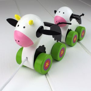 Hand Painted Wooden Cow And Calf Pull Along - toys & games