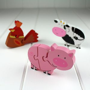 Set Of Wooden Farm Mini Puzzles