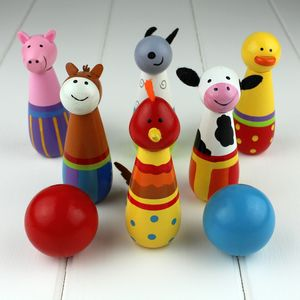 Hand Painted Wooden Farm Skittles - toys & games