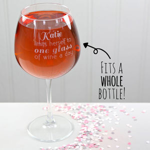 Personalised Engraved Whole Bottle Wine Glass - glassware