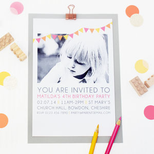 Personalised Photo Birthday Party Invitations - children's parties