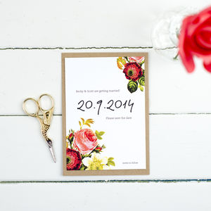 Personalised Vintage Floral Wedding Save The Date Card