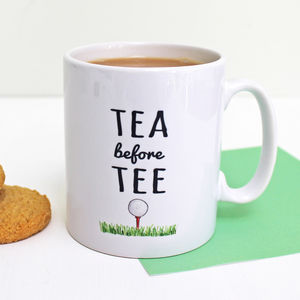 'Tea Before Tee' Golf Mug - mugs
