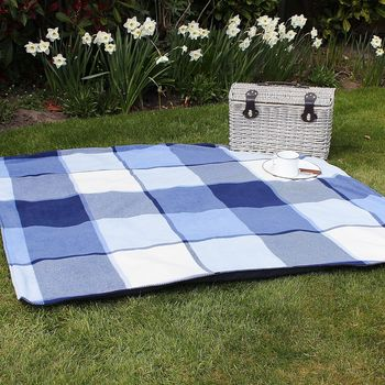 Blue And Cream Check Picnic Blanket