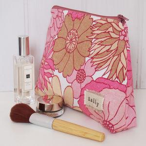 Personalised Make Up Bag Vintage Pink Floral - make-up & wash bags