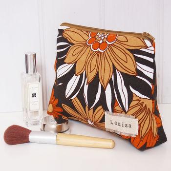 Personalised Make Up Bag Flower Power Print