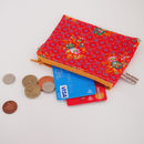 Vintage Red Floral Coin Purse