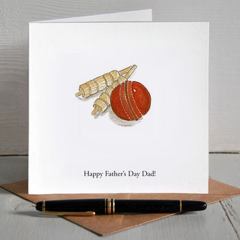 Cricket Ball Illustrated Personalised Father's Day Card