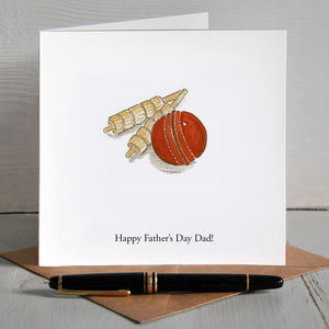 Cricket Ball Illustrated Personalised Father's Day Card - father's day cards