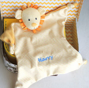 Babies' Personalised Striped Yellow Lion Comforter - children's circus