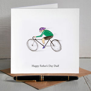 Cyclist Bike Illustrated Personalised Father's Day Card - personalised cards