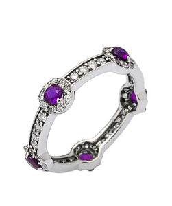 Silver Amethyst Stacking Ring - rings