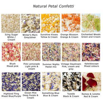 Natural petal confetti colour options