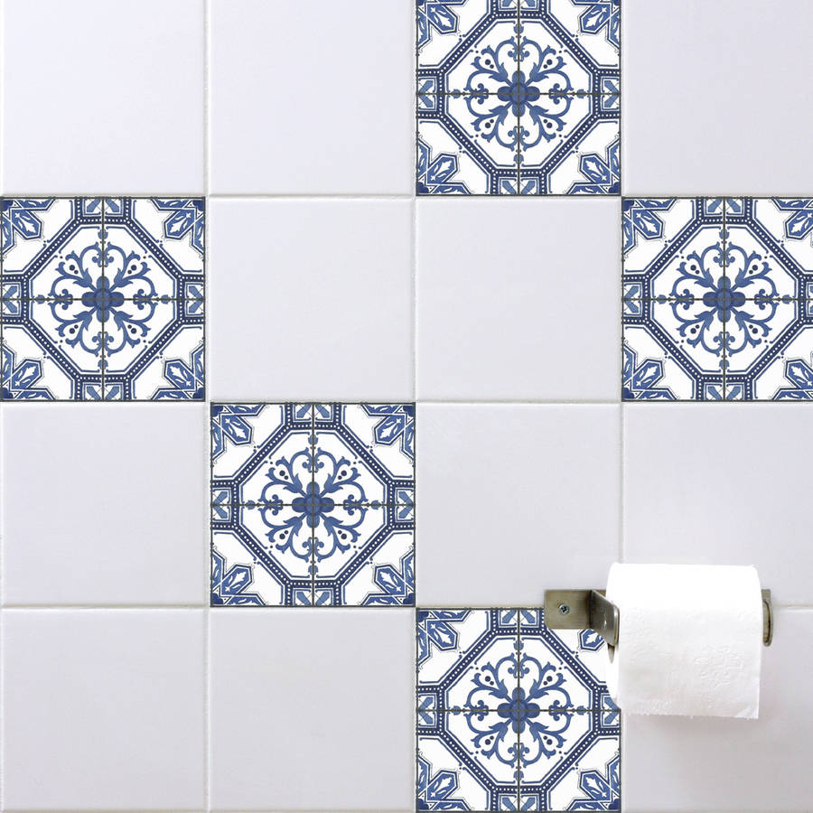 Spanish tile stickers antique blue by spin collective for Bathroom tile stickers