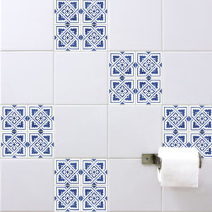 Spanish Tile Stickers Blue - bathroom