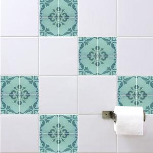 Spanish Tile Stickers Aquamarine - bathroom