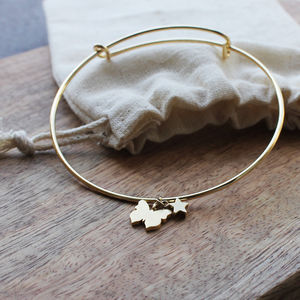Gold Plated Adjustable Butterfly Bangle - women's jewellery