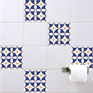 Spanish Tile Stickers Orange Blue - wall stickers
