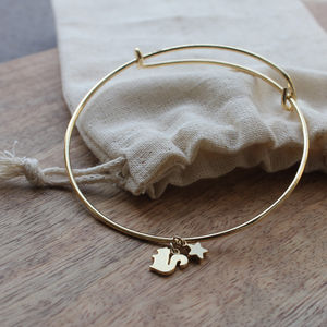 Gold Plated Adjustable Squirrel Bangle