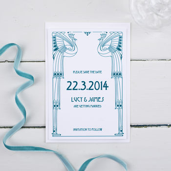 Deco Wedding Save The Date Card Or Magnet