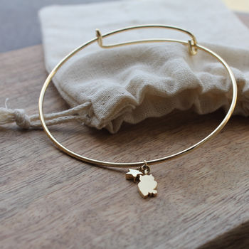Gold Plated Adjustable Owl Bangle