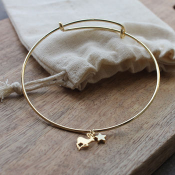 Gold Plated Adjustable Stag Bangle