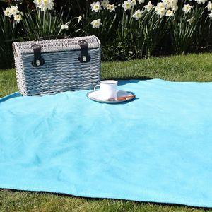 Turquoise And Navy Blue Picnic Blanket