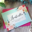 Blue background card and fuchsia envelope