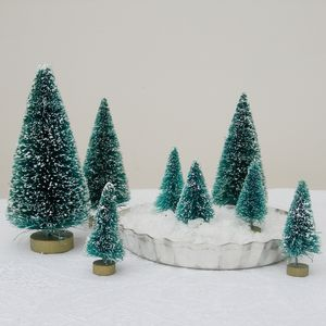 Eight Frosted Green Bottlebrush Mini Christmas Trees - centrepieces