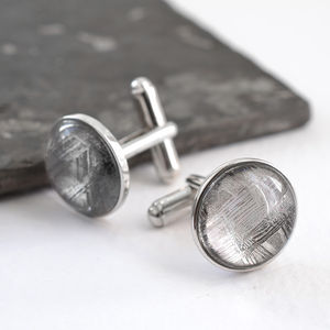 Sterling Silver And Meteorite Cufflinks