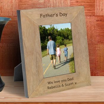 Fathers Day Personalised Wood Photo Frame