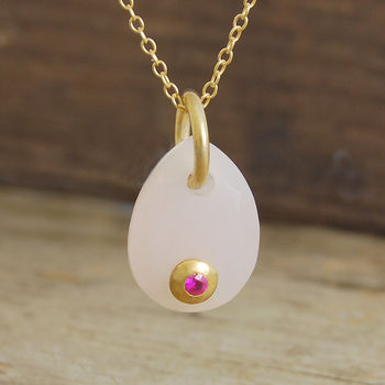 Rose Quartz Tear Drop Ruby Set Necklace