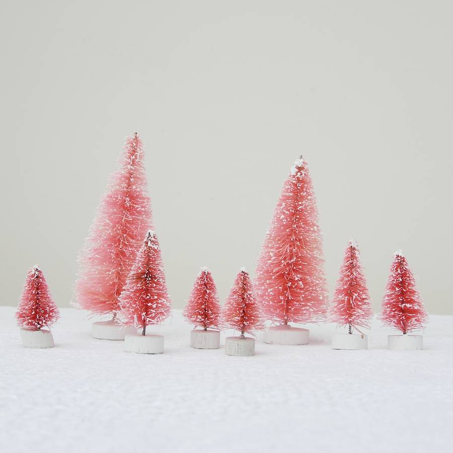 eight pink bottlebrush christmas trees by just add a dress ...