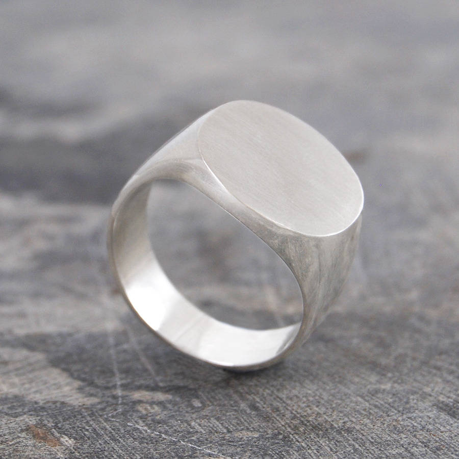 Men S Solid Silver Gold Circular Signet Ring