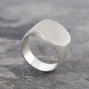 Men's Solid Silver/Gold Circular Signet Ring - rings