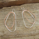 Irregular Large Silver And Rose Gold Drop Earrings