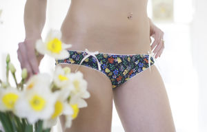 Dark Blue Floral Liberty Cotton Panties