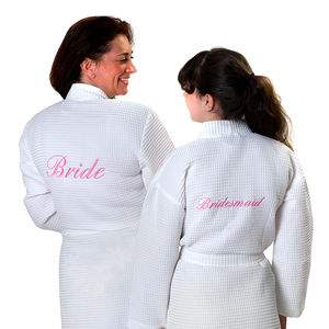 Bridal Waffle Bathrobes With Custom Ribbon - personalised