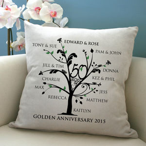 Personalised Golden Anniversary Family Tree Cushion - personalised