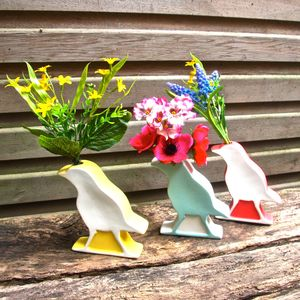 Spring Coloured Bird Shaped Bird Vase - living room