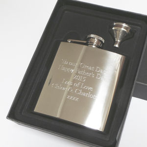 Personalised 6oz Hip Flask Bespoke Engraving - best father's day gifts