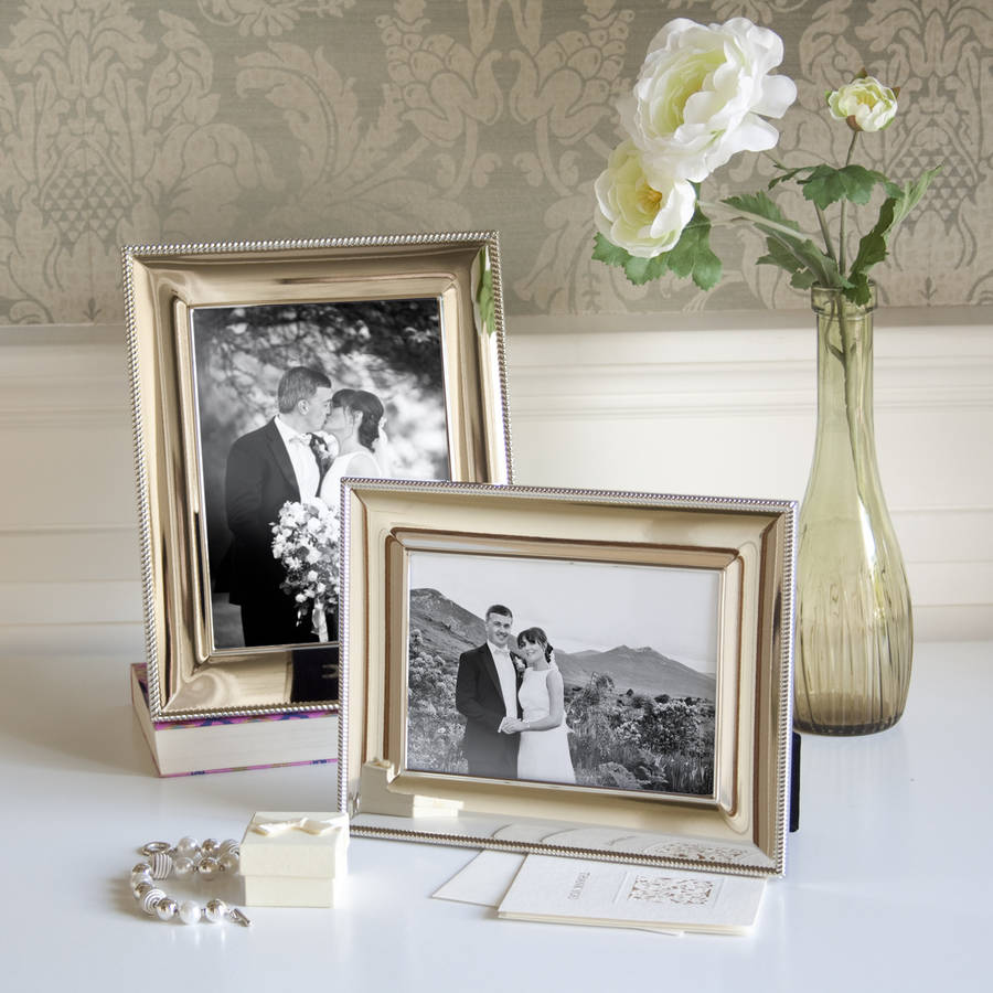 Silver photo frame with beaded rope edge by jodie byrne Rope photo frame