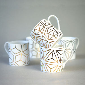 Set Of Gold Platonic Solids Mugs