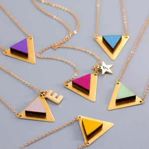 Colourful Wooden And Brass Triangle Necklace