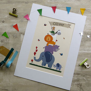 Personalised Children's Animal Nursery Print - christening gifts
