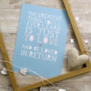 Personalised 'Love And Be Loved In Return' Print