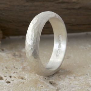 Handmade Silver Hammered Ring - rings