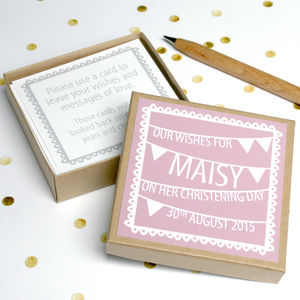 Personalised Christening Guest Message Box - keepsakes
